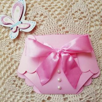 Открытка-конверт с рождением девочки