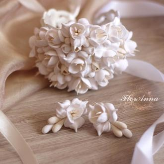 """Свадебный комплект для невесты """"Воздушный айвори"""" серьги+браслет"""