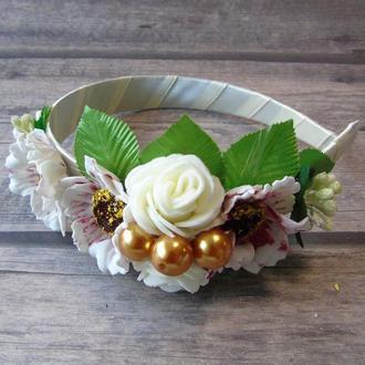 Ободок Ніжні троянди (білий)