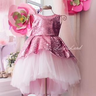 Детское нарядное платье со шлейфом из пайетки