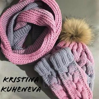 В'язаний зимовий комплект шапка снуд рукавички