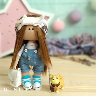 Интерьерная кукла с собачкой