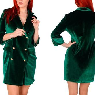 Двубортное бархатное платье