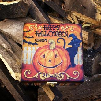 Шкатулка из дерева для чая или специй Halloween Веселая Тыква