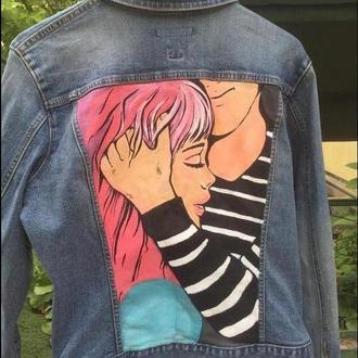 Джинсовая куртка с ручной росписью в стиле POP-ART