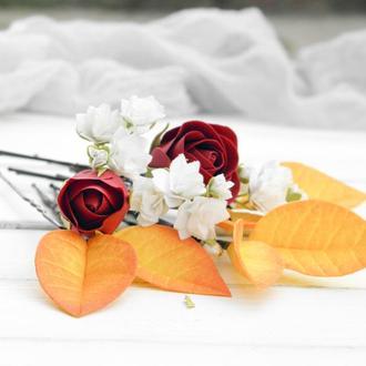 Осенние шпильки с цветами рoз и гипсофилы, Осенняя заколка, Цветы в прическу невесты