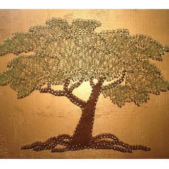 """Картина из гвоздей и шнуров """"Дерево"""""""
