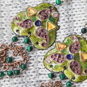 Сережки в стилі бохо з переборчатими емалями та малахітом