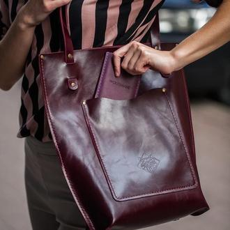 Жіноча шкіряна сумка-шопер бордова
