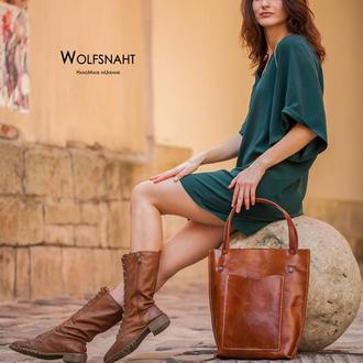 Жіноча шкіряна сумка-шопер руда