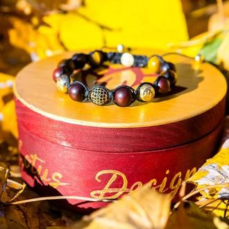 Авторский браслет Lotus Design из тигрового глаза, сандалового дерева и серебра 925 , ручная работа