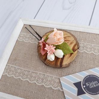 Шпилька с светло персиковый розой украшение для свадебной прически