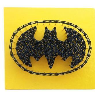 """Картина из гвоздей и шнуров """"Batman"""""""