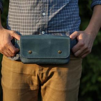 Кожаная сумка-кошелёк с поясом. Сумка на пояс. Сумка бананка