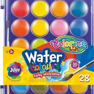Краски акварельные с кисточкой 28 цветов Colorino (67317PTR)