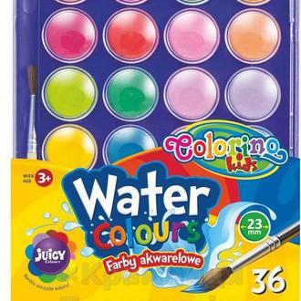 Краски акварельные с кисточкой 36 цветов Colorino (67324PTR)