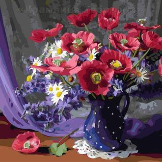 Картина по номерам 40х50 Букет в синей вазе (GX24273)