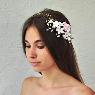 Украшение для волос с цветами, жемчугом и стразами