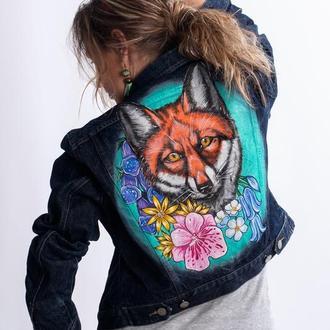Джинсовая куртка с ручной росписью