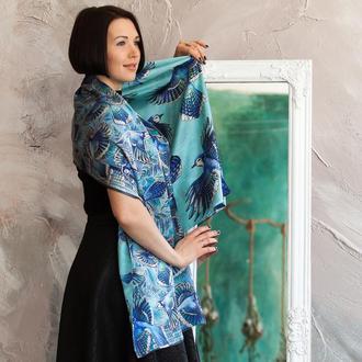 Шелковый палантин, Голубой шарф с птицами, Женский шарф, Двусторонний шарф, Атласный шелк