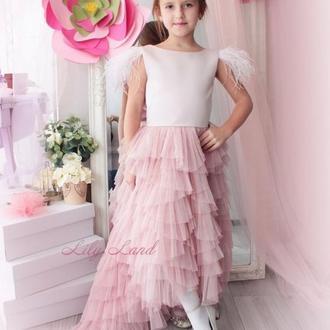 Детское нарядное фатиновое платье на праздник, утреник или выпускной с перьями