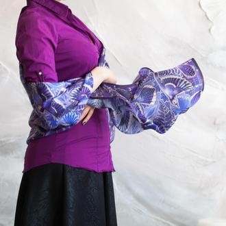 Фиолетовый шарф, Женский шарф, Шарф с птицами, Атласный шелк, Палантин, Шовк, Платки шарфы