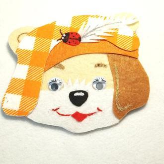 Нашивка собачка в шапке