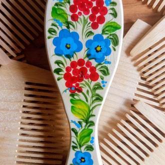 Миниатюрная массажная щетка для волос с Петриковской росписью Ягодки