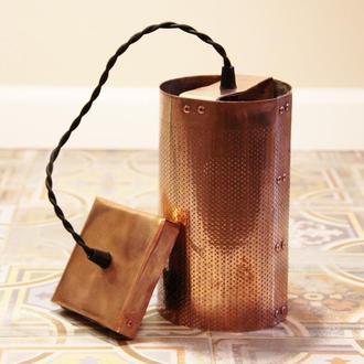 Подвесной светильник из перфарированной меди, цилиндр
