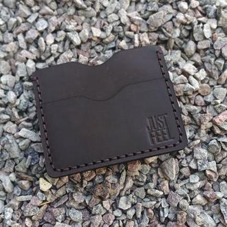 """Картхолдер кожаный """"Vest-pocket"""" brown Just Feel"""