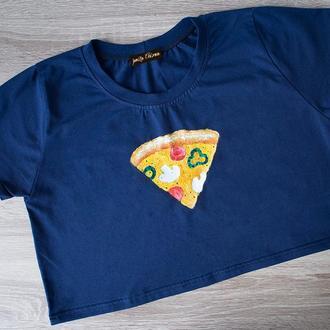 РАСПРОДАЖА Кроп топ с pizza