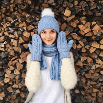 Набор шапка с бубоном, варежки с совами и шарф, зимний комплект тёплый вязанный на флисе