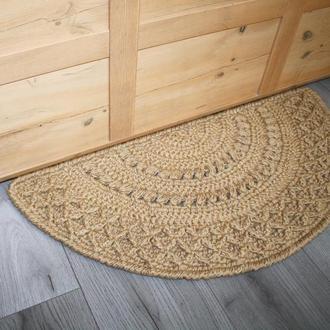 Придверный прикроватный полукруглый коврик из джута