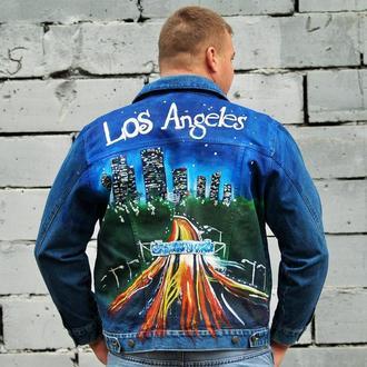 """""""Лос Анжелес"""" Чоловіча джинсова куртка з ручним розписом"""