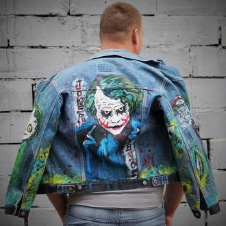 """""""Джокер"""" Чоловіча джинсовка, ручний розпис, малюнки на спині, спереду та на обох рукавах"""