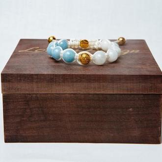 """Женский браслет Lotus Design """"Гармония"""" с аквамарином, лунным камнем и серебром 925 пробы в позолоте"""