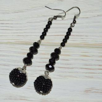 Серьги в черном цвете ручной работы