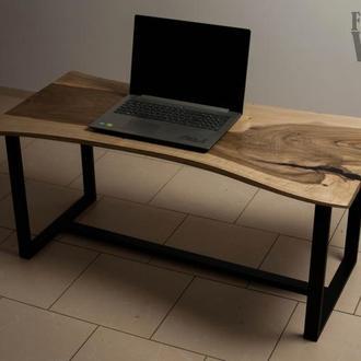 Журнальный \ кофейный столик из ореха в стиле Live Edge. Стол со слэба в стиле LOFT
