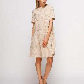 Платье бежевое в цветы (размер М)