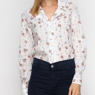 Рубашка белая в коралловые цветы