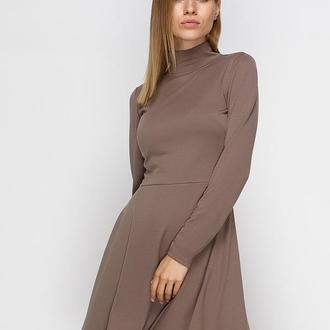 Платье цвета кофе с молоком (XS)