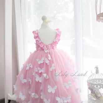 Нарядное детское платье из фатина на выпускной с бабочками