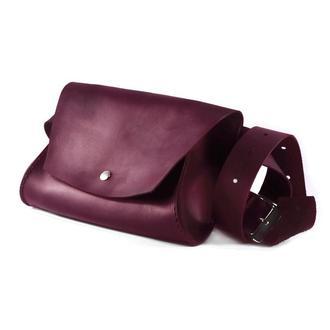 Шкіряна жіноча сумка на пояс - Тренд Сезону! Поясна сумка з натуральної шкіри винного кольору.