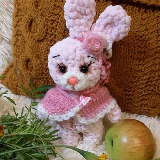 Мягкая игрушка вязаный плюшевый зайчик зая