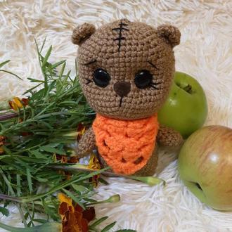 Мягкая игрушка ручной работы вязаный мишка амигуруми для малышей и фотосессий