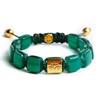 """Женский браслет """"Величие"""" от Lotus Design с изумрудным ониксом и серебром 925 пробы в позолоте"""