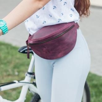 Жіноча шкіряна бананка кольору марсала - Жіноча поясна сумка зі шкіри