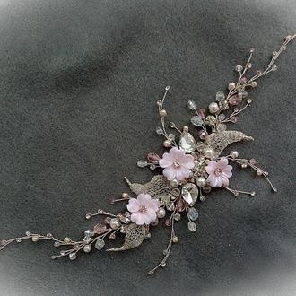 Свадебное украшение для волос, веточка в прическу невесты, украшение в прическу, аксессуары невесте
