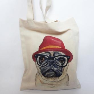 Эко-сумка мопс, сумка-шоппер, тканевая сумка, авоська