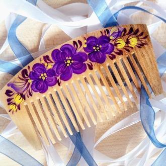 Деревянная расческа, гребень для волос ручная роспись Сирень